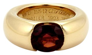 Cartier 18k Yellow Gold 3ctw Garnet 8.5mm Wide Dome Band - Size 49-US 5