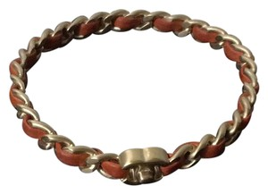 Chanel Authentic Chanel Twisted Leather Chain Bangle GHW