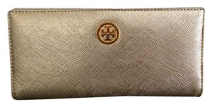 Tory Burch Tory Burch Saffiano Leather metallic gold long thin bifold wallet