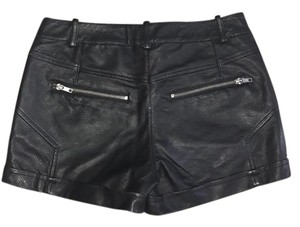 French Connection Leather Night Out Date Night Mini/Short Shorts Black