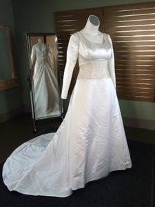 Ivory Satin And Lace Long Sleeve W Train That Can Also Bustle Modest Wedding Dress