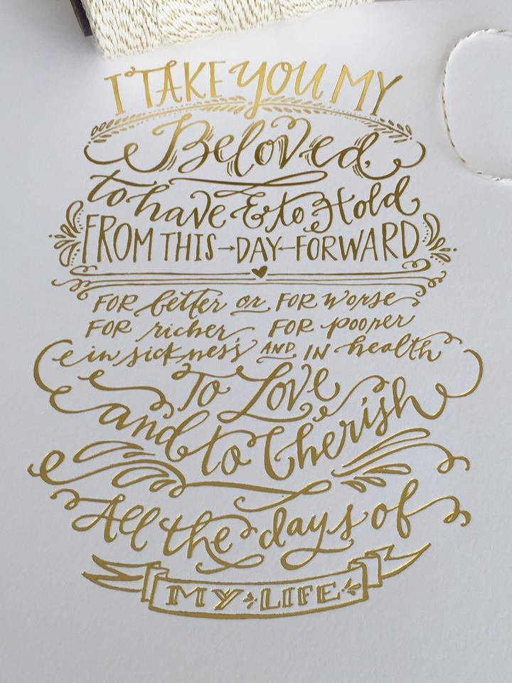 Traditional Wedding Vows Gold Foil Print