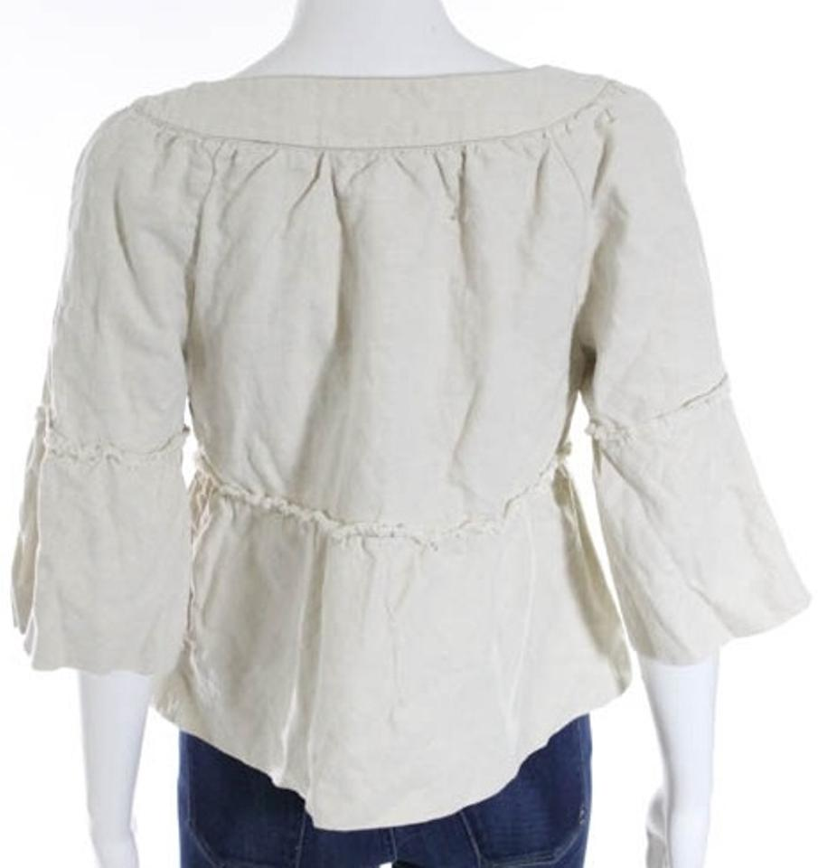 fc8b2b8a22485e Kensie Ivory Beige Sale Cropped Babydoll Small Big Buttons Loose Fit  Natural Color Linen Blend Jacket