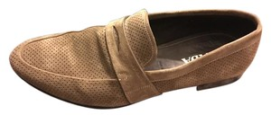 Prada Brown Men's Perforated Suede Strap Loafers Shoes