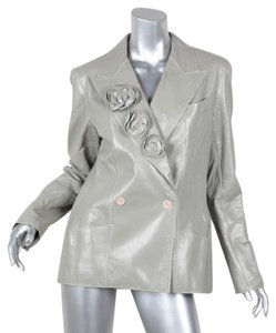 Chanel 03c Crinkle Patent Leather Trench Coat GRAY Leather Jacket