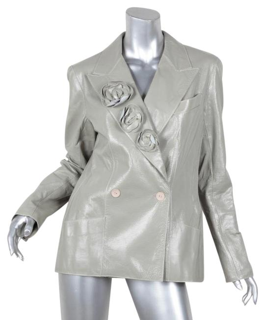Item - Gray 03c Womens Crinkle Patent Belted Trench Coat Jacket Size 10 (M)