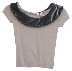 Anthropologie Velvet Collar Beaded Sweater