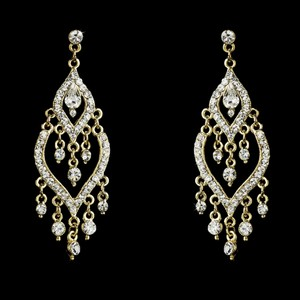 Elegance By Carbonneau Elegant Gold Chandelier Prom Wedding Earrings