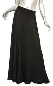 Chanel Chiffon Flounce Maxi Skirt BLACK