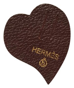 Hermès Hermes Petit H Small brown leather heart charm