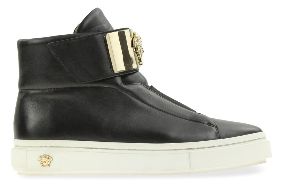 ed72903ddcbd Versace Black Medusa Palazzo High Top Leather Platform Sneakers Size ...