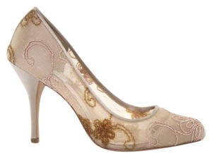 Badgley Mischka Mesh Lace Embroidered Round Toe Formal Beige Pumps
