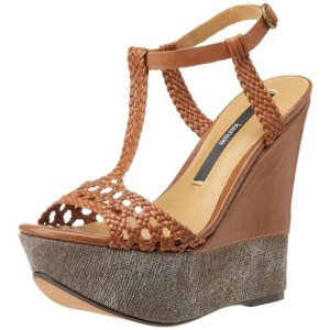 Kensie Braided Brown Shelly Wedge Leather T Strap Sandals Wedges