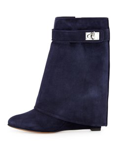 Givenchy Navy Suede Shark Lock Boots