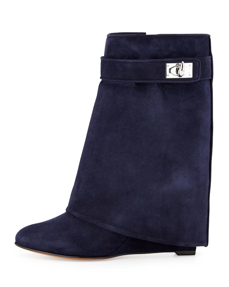 9254ab8c5f49 Givenchy Navy Suede Shark Lock Pant Leg Boots Booties Size US 9 ...