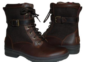 UGG Australia Water-proof Leather Uggpure Sheepskin Lace Up-side Zipper Rugged Sole Wool Blend Shaft Chestnut Boots