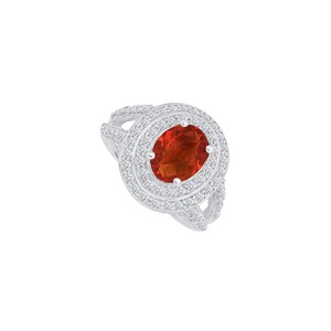Fine Jewelry Vault Garnet and CZ Split Shank Ring in 925 Sterling Silver