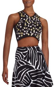 ISSA London Crop Stretchy Designer Floral Embellished Top Black