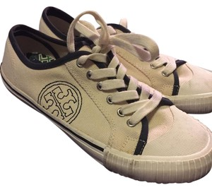 Tory Burch Tennis Sneakers Logo 7 Cream and Navy Athletic