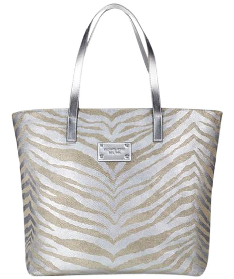 a7bcb9401839e1 Michael Kors Geniune Canvas Gold Sleek Tote in silver zebra Image 0