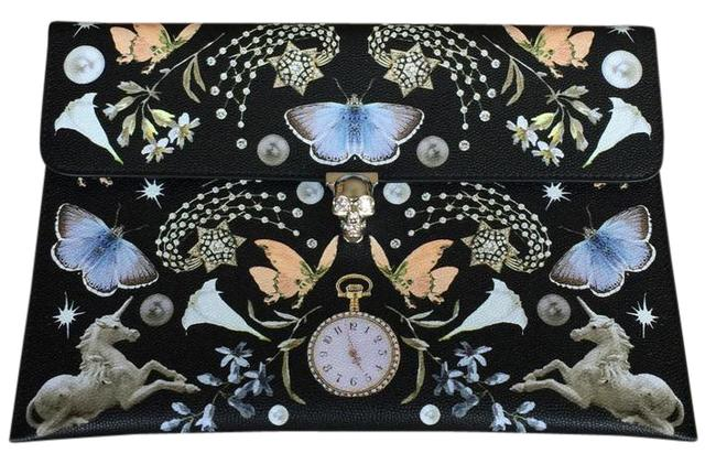 Item - New Butterfly Print Skull Clasp Envelope Multicolor Leather Clutch