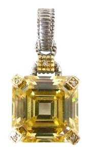 Judith Ripka Judith Ripka Montana Collection Canary Crystal 18k Yellow Gold SS Clip-On Enhancer Pendant