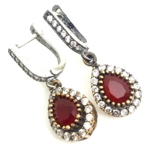 ELLE CROSS ELLE CROSS PEAR HALO RUBY EARRINGS STERLING SILVER DANGLE EARRINGS