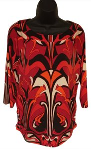 Chico's Top Multi-color, black, white, red, orange
