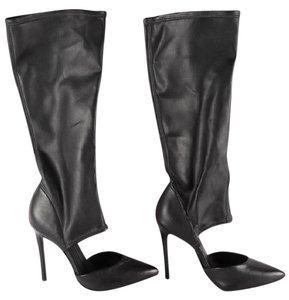 SCHUTZ Knee High Leather Stiletto Stretchy black Boots