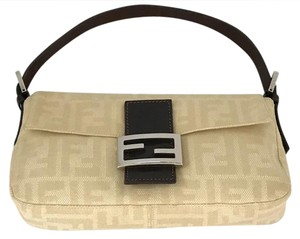 Fendi Baguette Brown Leather Clutch Silver Tone Tote Shoulder Bag
