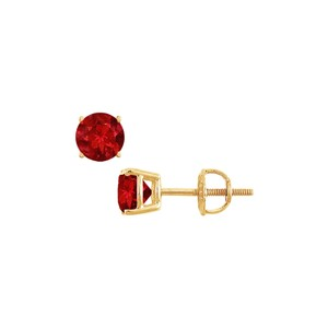 LoveBrightJewelry 14K Yellow Gold Prong Set Created Ruby Stud Earrings 0.50 CT TGW