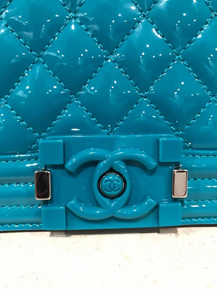 9362743fa2cc Chanel Classic Flap Boy 14s Turquoise Le Small Cc Chain Blue Patent Leather  Cross Body Bag - Tradesy