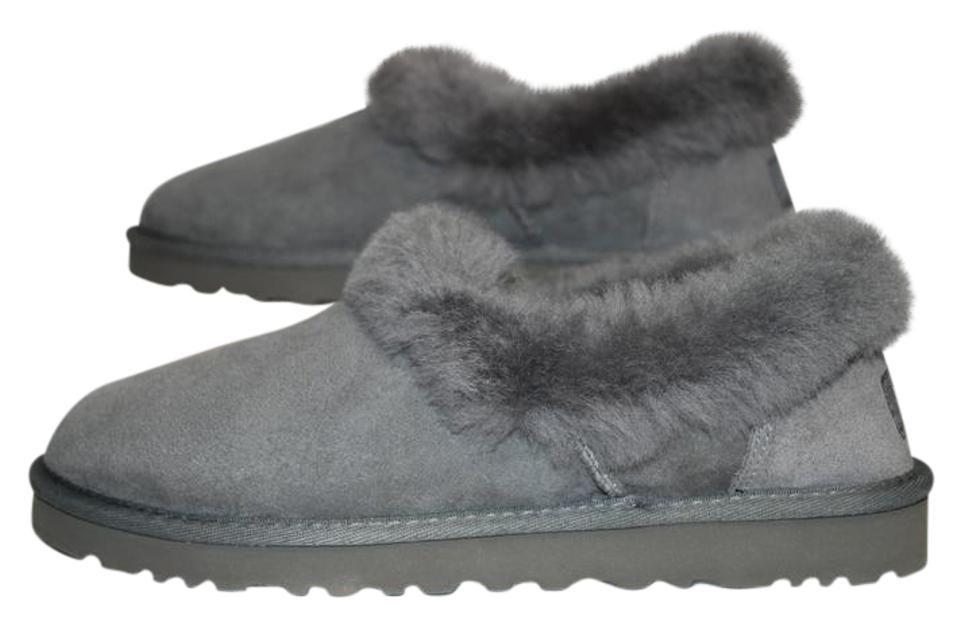 6585019c36a UGG Australia Suede Sheepskin Wool Lining Eva Sole Slip On Grey Flats Image  0 ...