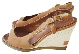 Chanel Wedge Slingback Open Toe Leather Tan Sandals