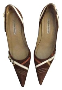 Charles David Leather Snakeskin Rust Suede Pumps