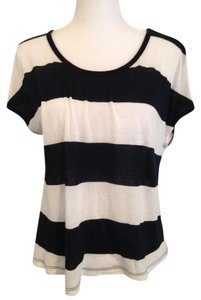 Joie Soft Striped Oversized Loose T Shirt black and white