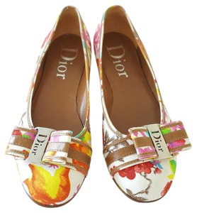 Dior Floral Canvas New Orange & Pink Flats