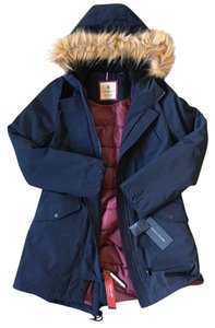 Tommy Hilfiger Faux Fur Trim Hooded Jacket XS Navy Fur Coat