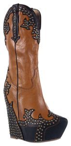 Jeffrey Campbell Wedge Cowboy Western Stitched Silhouette Brown Boots