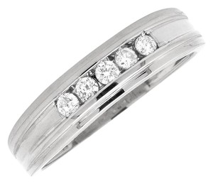 Other Mens Grooved Diamond 5mm Comfort Fit Wedding Band Ring .25Ct