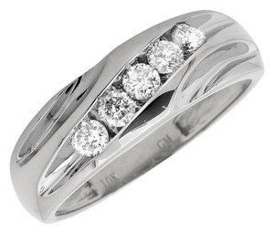 Other Mens Round Channel Diagonal Diamond Wedding Band Ring .50 Ct
