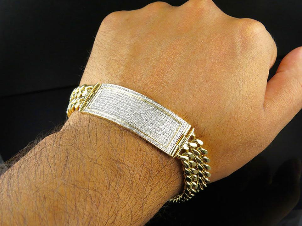 3Ct Round Cut Diamond Two String Cuban Link Bracelet 14K Yellow Gold Finish Over