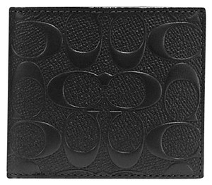 Coach COACH men's SIGNATURE Embossed logo leather wallet Coin 75363