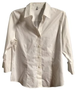 Foxcroft Non-iron 3/4 Sleeve Button Down Shirt White