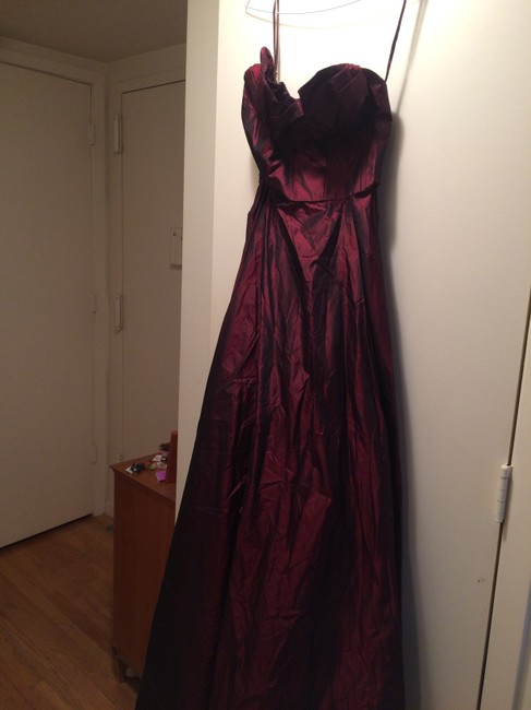 Item - Burgundy Strapless Gown Long Formal Dress Size 4 (S)
