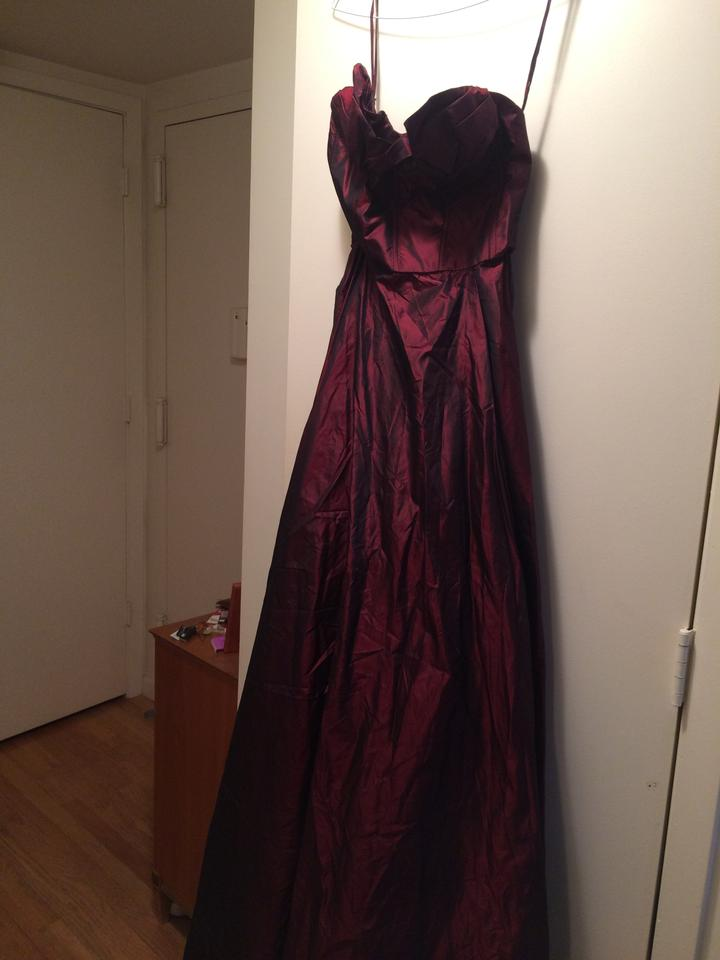 Pamela Dennis Burgundy Strapless Gown Long Formal Dress Size 4 (S ...