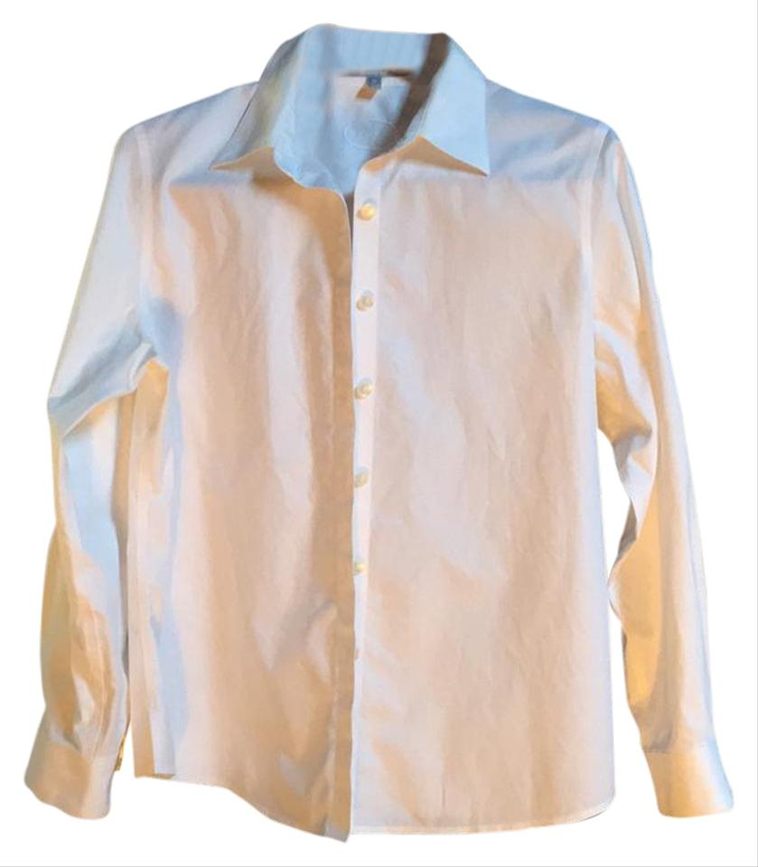 ac1d62e5 Foxcroft White Non-iron Fitted Long Sleeve Shirt Button-down Top. Size:  Petite ...
