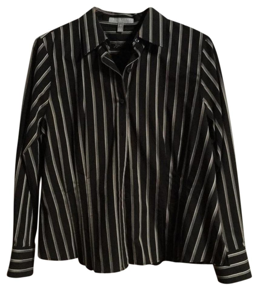 Foxcroft black grey stripes no iron fitted shirt button for Best no iron shirts