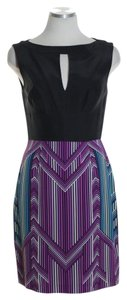 Trina Turk short dress Black Multi Sleeveless Silk Sheath on Tradesy
