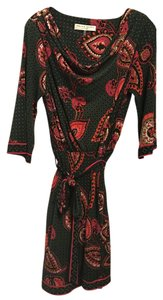 Trina Turk short dress Green / Red / Orange / Pink Print. Boat Neck 3/4 Sleeve Paisley on Tradesy